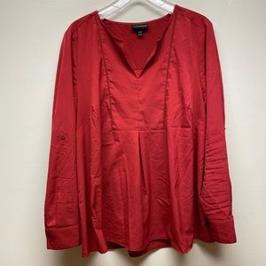 Lane Bryant Red V-Neck Blouse